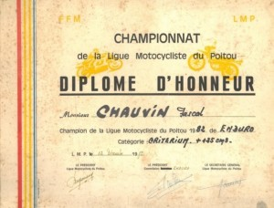 Diplome champion de ligue d'enduro 1982